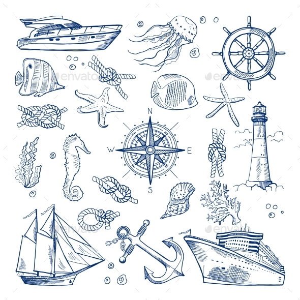 Sea or Ocean Underwater Life - Objects Vectors