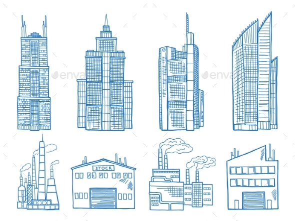 Different Modern Building with Offices, Industry - Buildings Objects