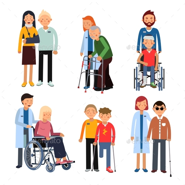 Disabled People Group or Hospital Patients - Miscellaneous Vectors
