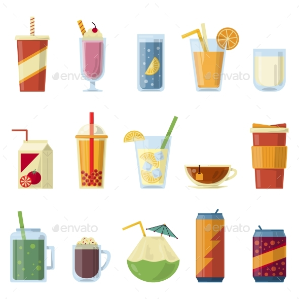 Illustration with Non Alcoholic Drinks. Vector - Objects Vectors
