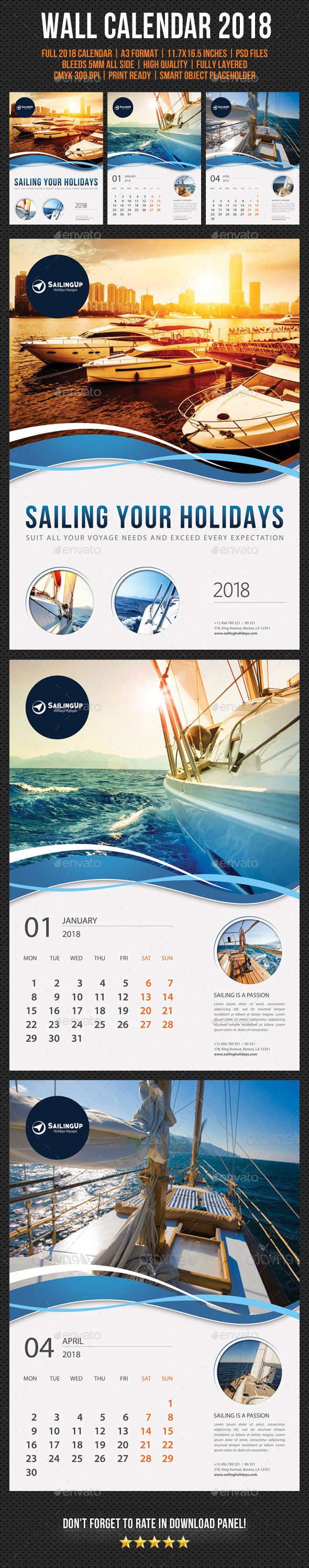 Wall Calendar 2018 V15 - Calendars Stationery