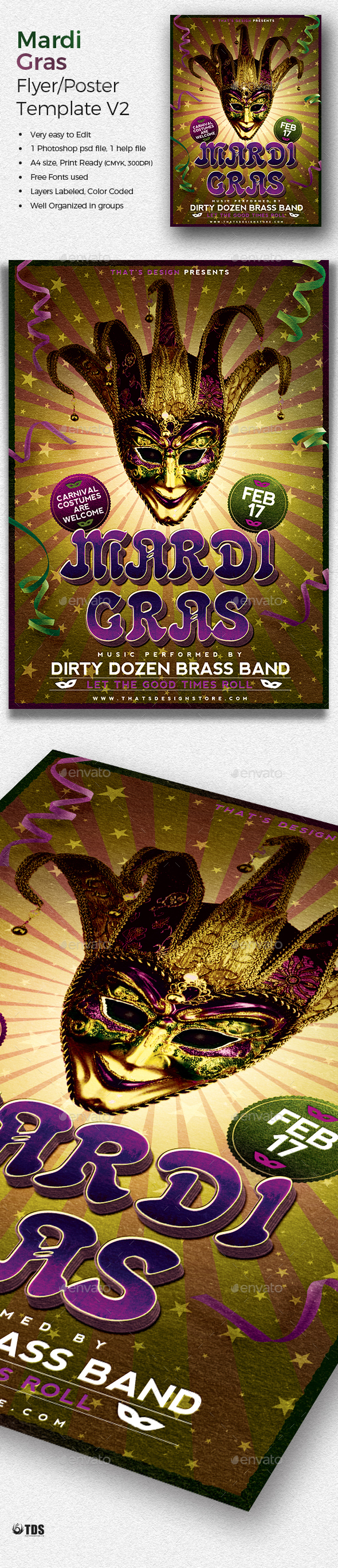 Mardi Gras Flyer Template V2 - Holidays Events