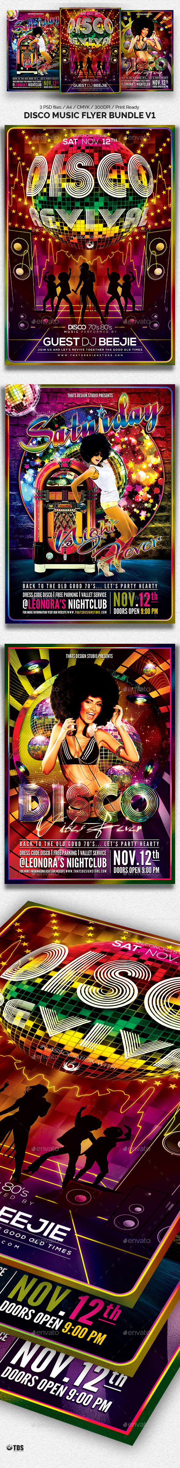 Disco Music Flyer Bundle V1 - Clubs & Parties Events