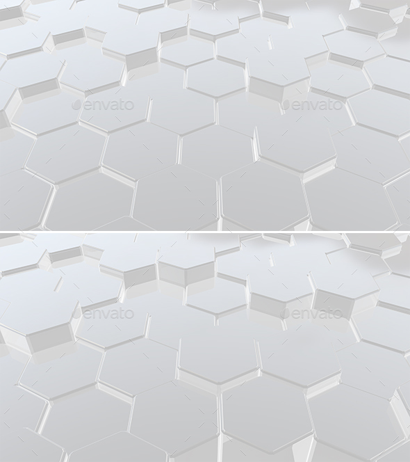 White Hexagons - 3D Backgrounds