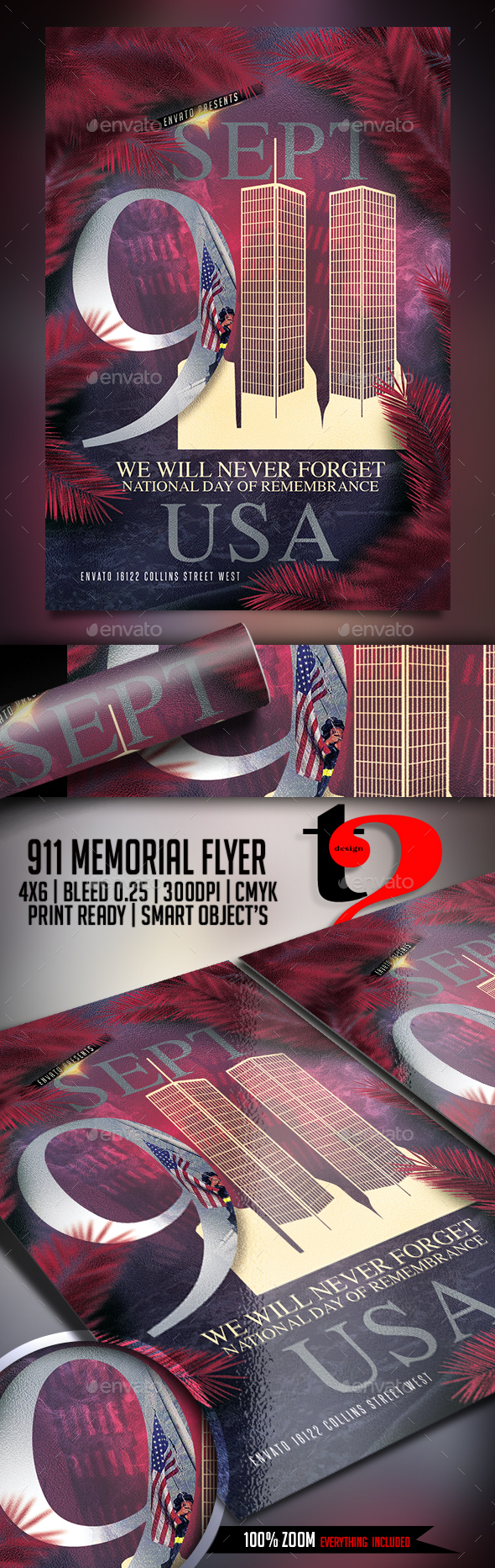 911 Memorial Flyer Template - Holidays Events