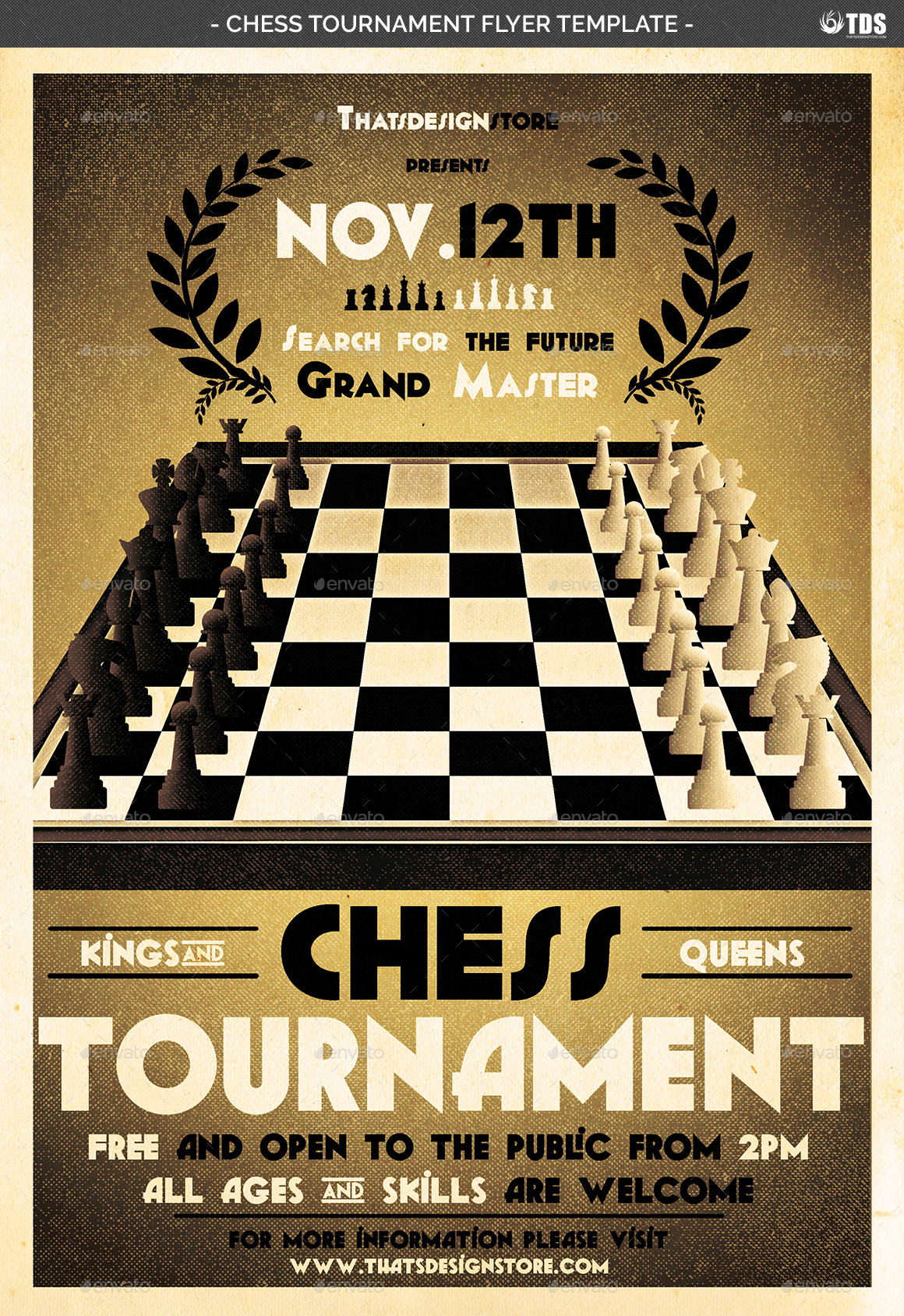 chess tournament flyer template by lou606