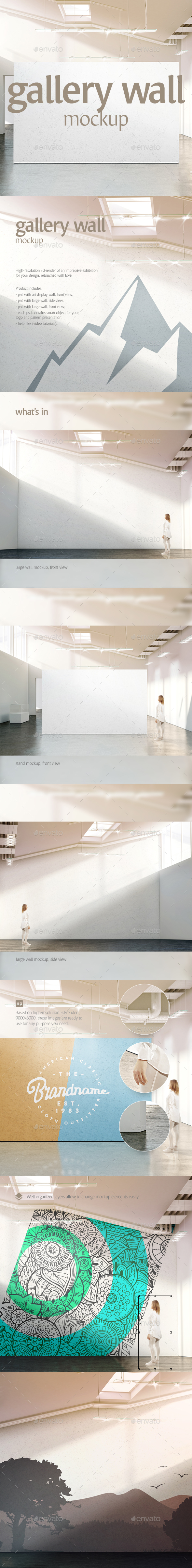 Gallery Wall Mockup - Objects 3D Renders