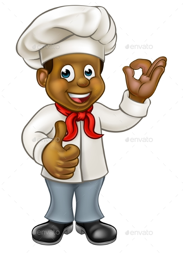 Cartoon Black Chef Cook - People Characters