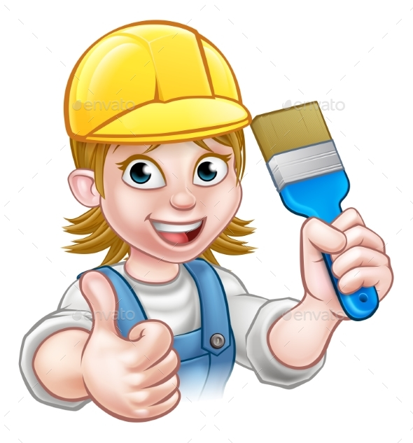 Woman Painter Decorator Cartoon Character - People Characters