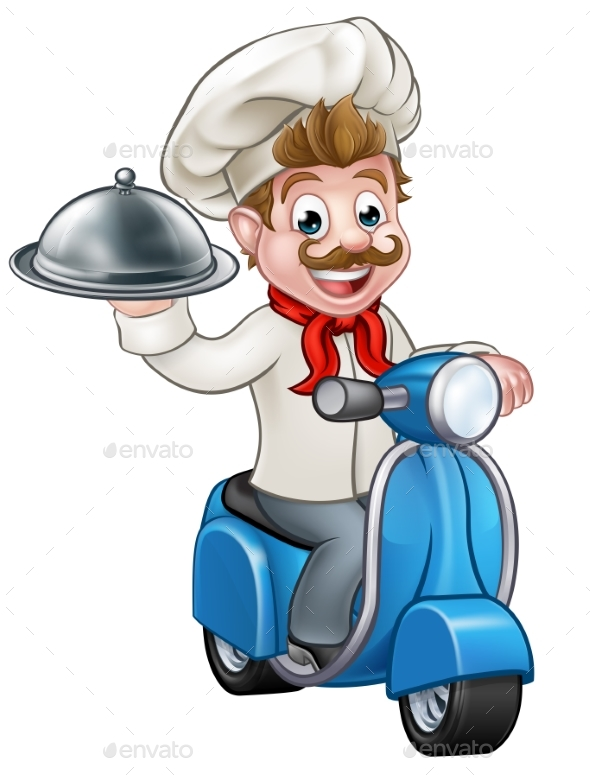 Cartoon Delivery Moped Scooter Chef - Food Objects