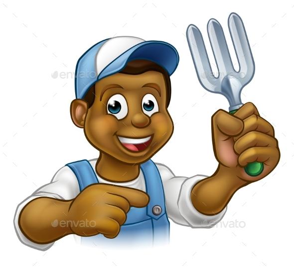 Black Gardener Cartoon Character - People Characters