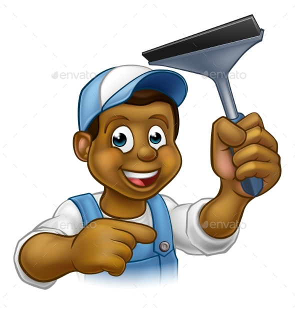 Black Window Cleaner With Squeegee - People Characters