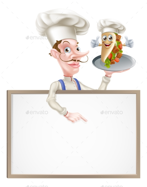 Cartoon Chef Pointing at Kebab Sign - Food Objects