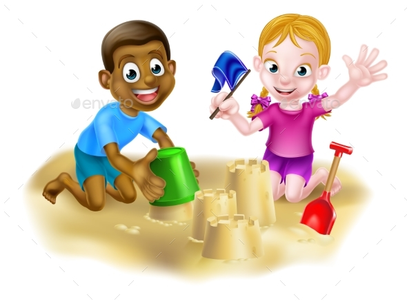 Cartoon Boy and Girl on Beach - People Characters
