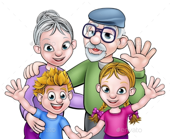 Cartoon Grandparents and Children - People Characters