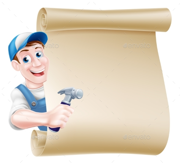 Cartoon Carpenter Scroll - Miscellaneous Vectors