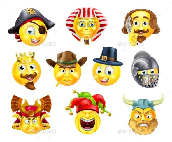 History Emoji Emoticon Set - Miscellaneous Vectors