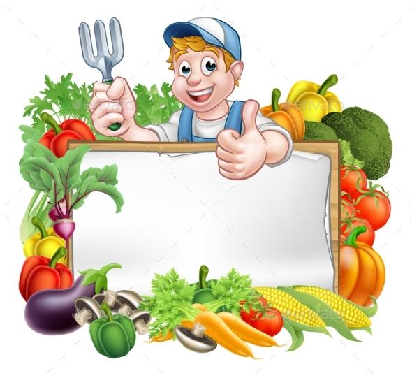 Gardener Vegetables Sign - Food Objects