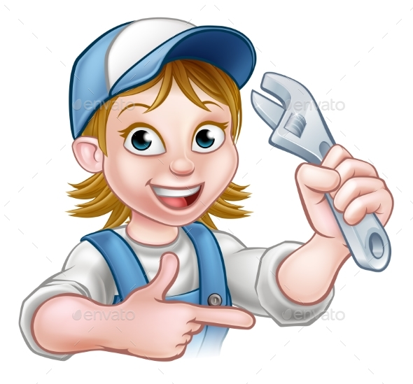 Cartoon Mechanic Plumber Woman Holding Spanner - People Characters