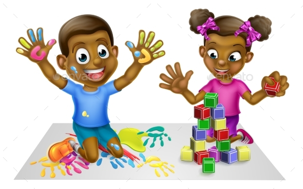 Cartoon Boy and Girl with Paint and Blocks - Miscellaneous Vectors