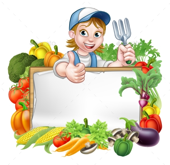 Woman Gardener Vegetables Sign - Miscellaneous Vectors
