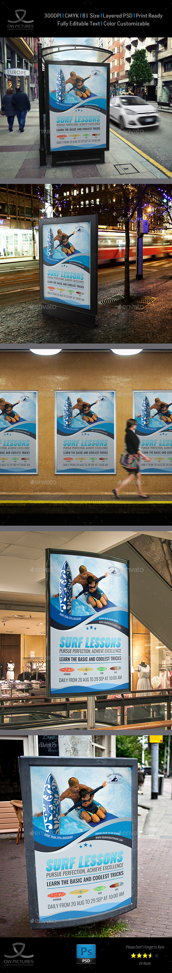 Surf Training Poster Template - Signage Print Templates