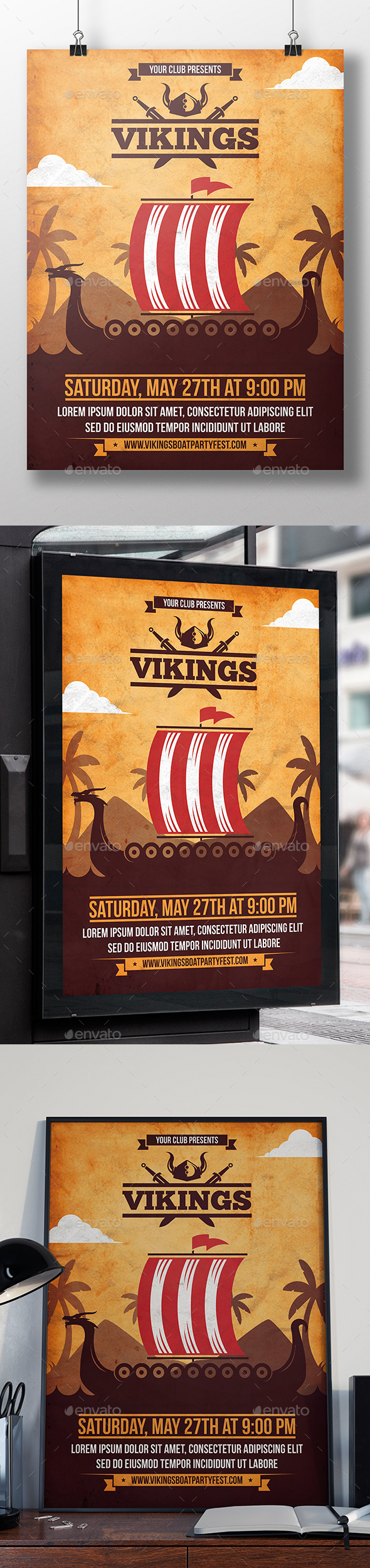 Viking Boat Flyer Template - Miscellaneous Events
