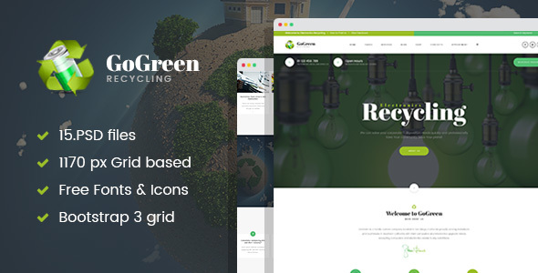 GoGreen - Waste Management and Recycling PSD Template - Business Corporate