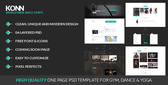 KONN – One Page PSD Template for Gym, Yoga & Dance