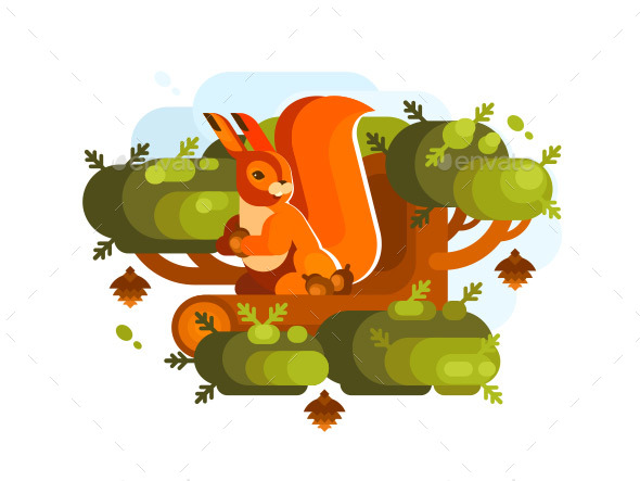 Cartoon Squirrel with Acorn - Animals Characters