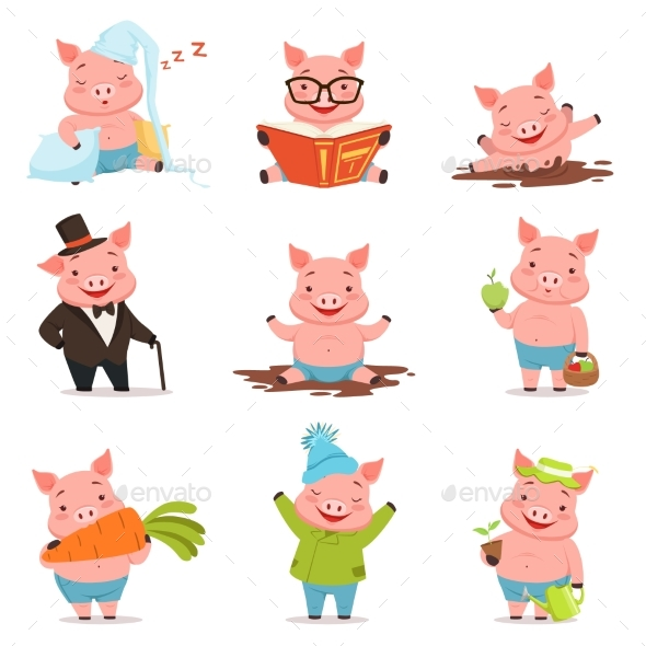 Little Pigs in Different Situations Set - Animals Characters
