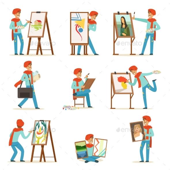 Happy Smiling Artist Painting on Canvas Set - Miscellaneous Vectors