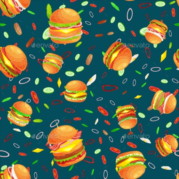 Seamless Pattern Tasty Burger Grilled Beef - Religion Conceptual