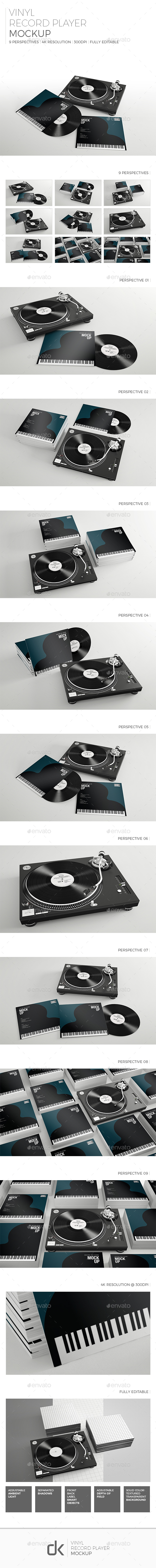 Realistic Vinyl Record & Player Mockup - Discs Packaging