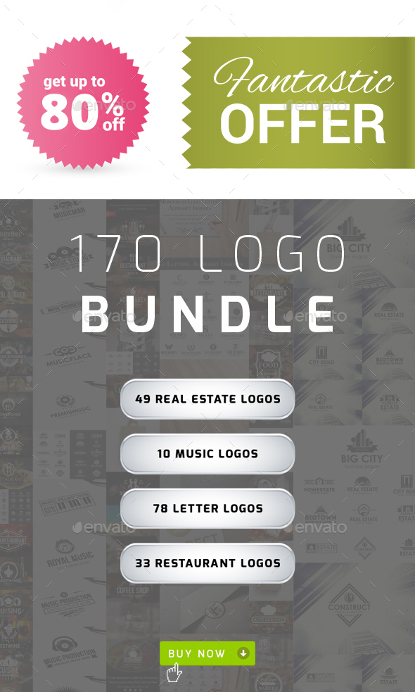 170 Logos Bundle – Real Estate, Music, Letters & Restaurants - Badges & Stickers Web Elements