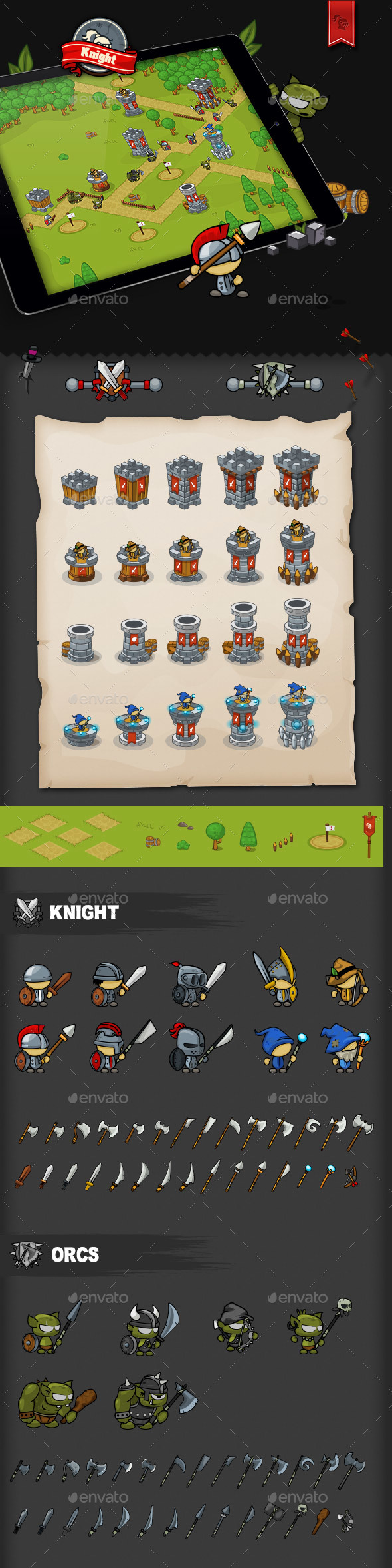 Tower Defense Game Set Knight - Game Kits Game Assets