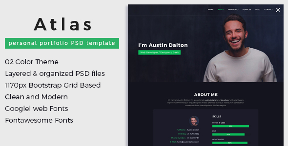 atlas personal portfolio psd template by pyxelstudio themeforest. Black Bedroom Furniture Sets. Home Design Ideas
