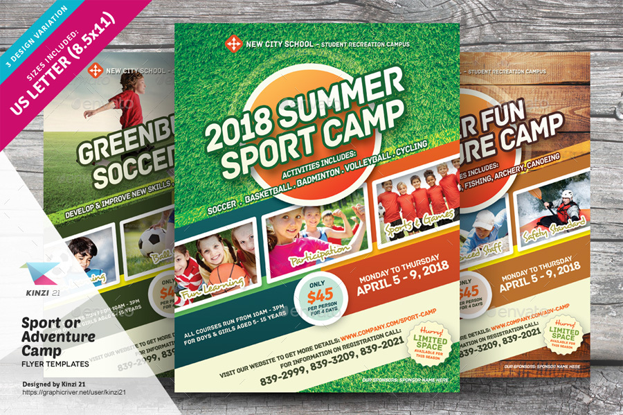 Sport Or Adventure Camp Flyers By Kinzi21 Graphicriver