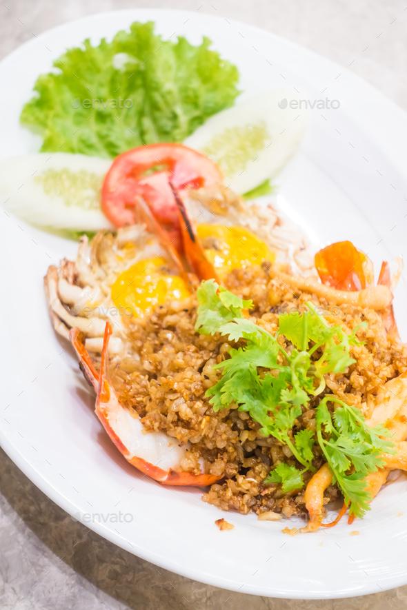Fried prawn with garlic - Stock Photo - Images