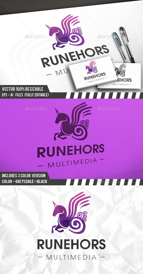 Runic Unicorn Logo - Animals Logo Templates