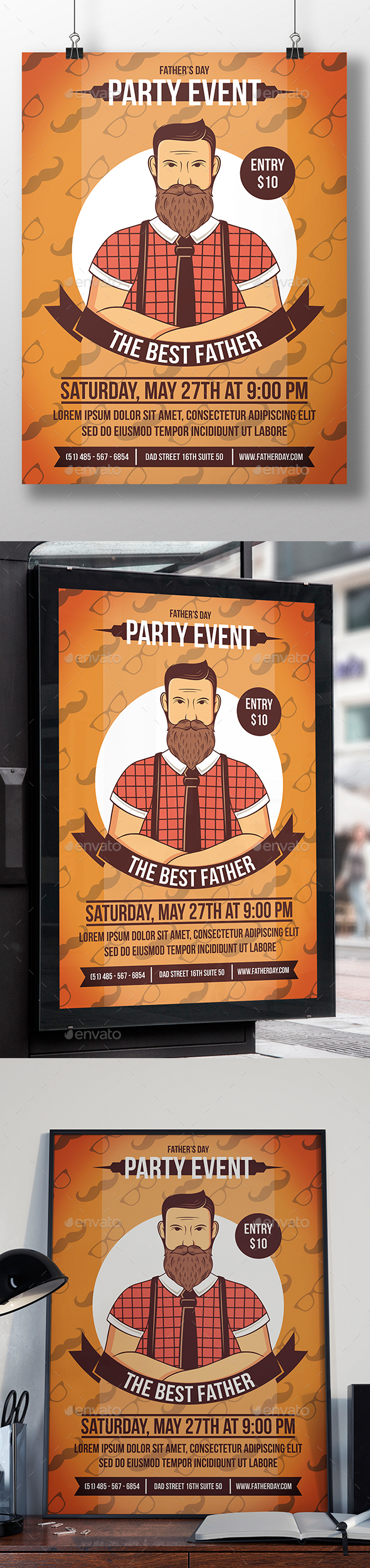 Fathers Day Flyer Template - Clubs & Parties Events