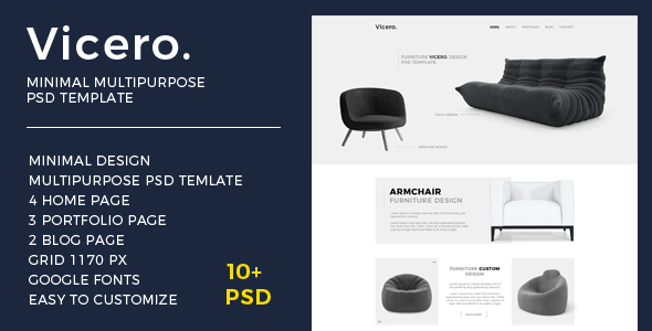 Vicero - Minimal Multipurpose PSD Template - PSD Templates