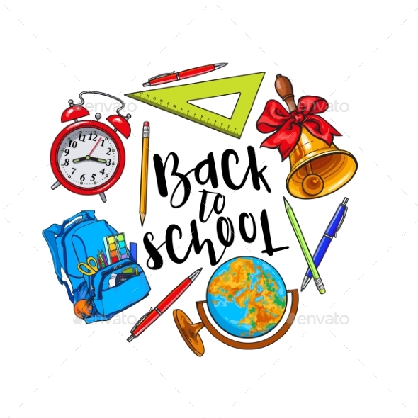 Round Frame of School Items - Miscellaneous Vectors