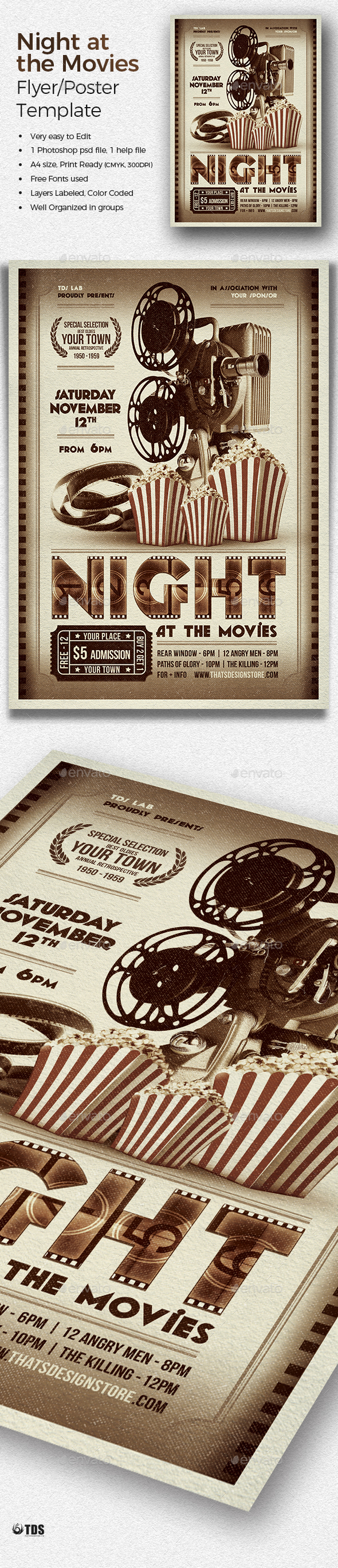 Night at the Movies Flyer Template - Miscellaneous Events