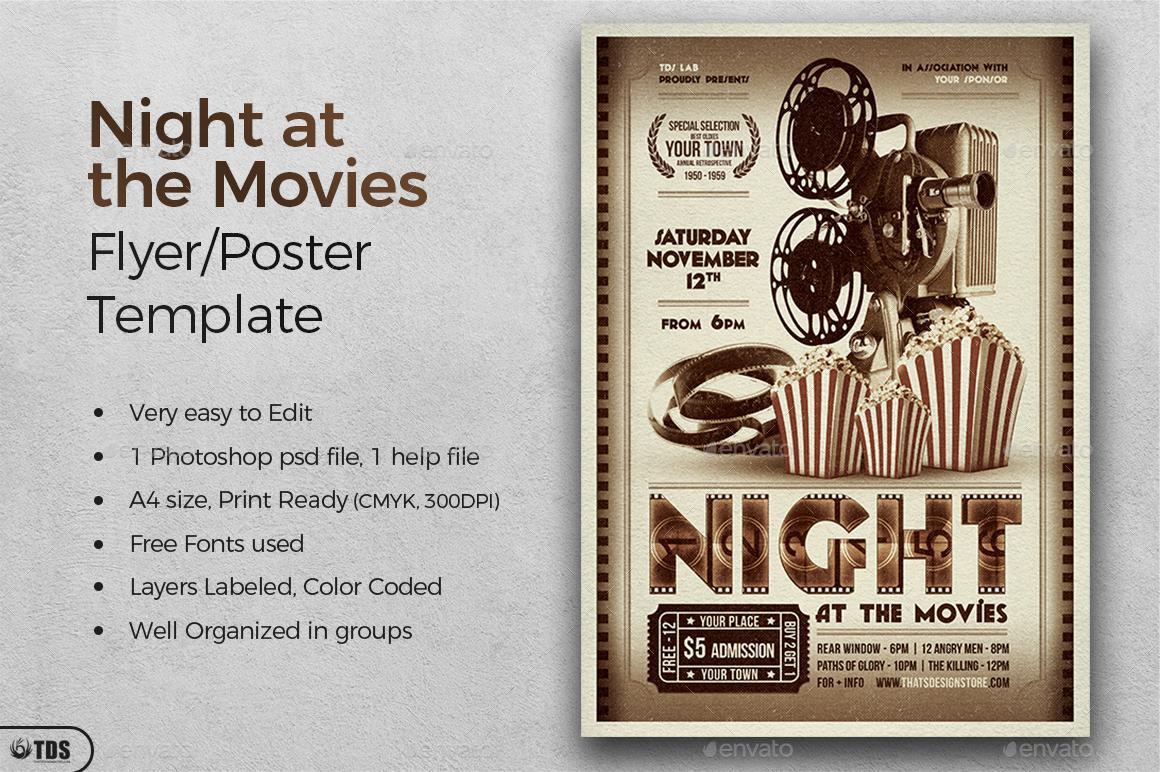 Atemberaubend Film Nacht Flyer Vorlage Ideen - Entry Level Resume ...