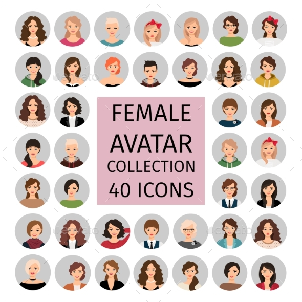 Female Avatar Collection Icons Set - People Characters