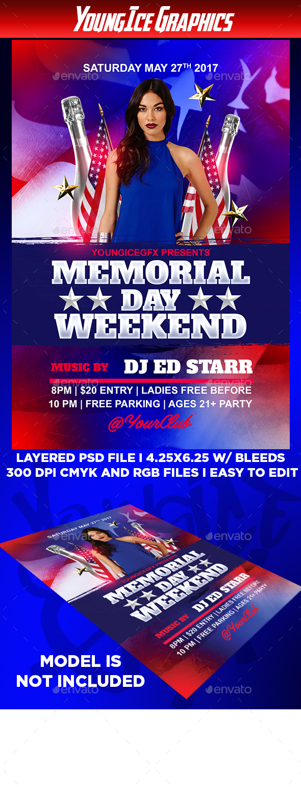 Memorial Day Weekend Flyer Template - Clubs & Parties Events