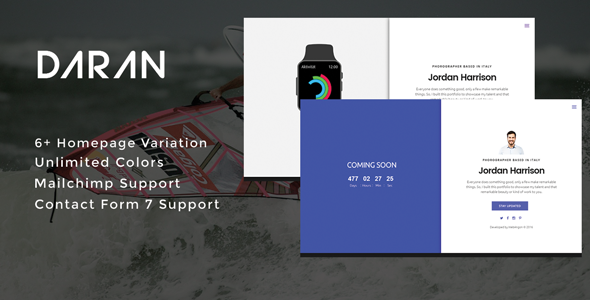 Daran - Ultimate Coming Soon & Maintenance Plugin - CodeCanyon Item for Sale