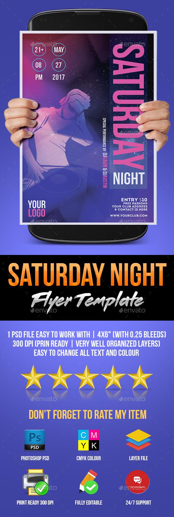 Saturday Night Flyer - Flyers Print Templates