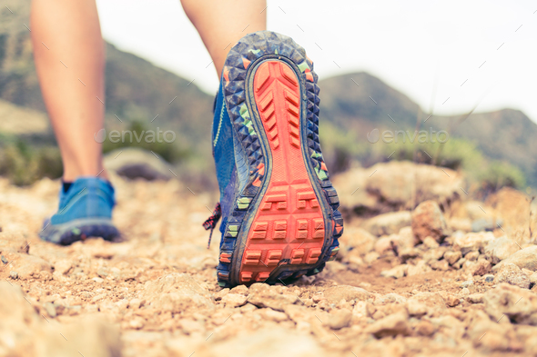 Hiking walking or running sports shoe sole - Stock Photo - Images